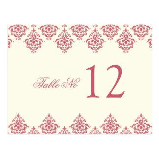 Cartão cor-de-rosa do número da mesa do damasco do