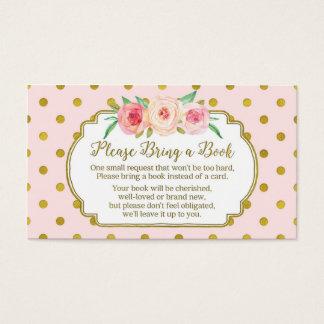 Cartão cor-de-rosa do pedido do livro do chá de