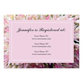Cartão cor-de-rosa do registro do chá de panela do cartões de visita