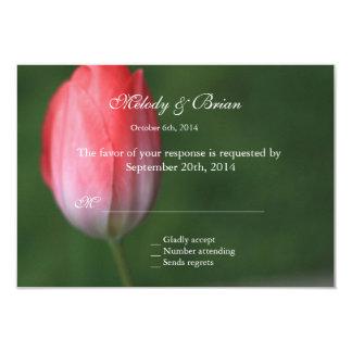 cartão cor-de-rosa do rsvp da flor da tulipa, convite personalizado