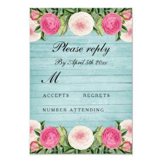 Cartão cor-de-rosa do rsvp do casamento do vintage