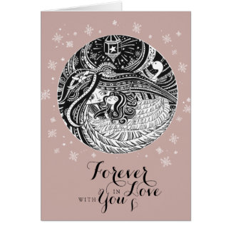 Cartão cor-de-rosa dos namorados do ANJO do ouro