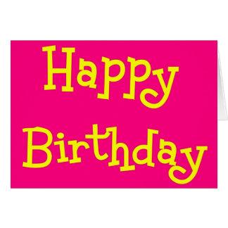 Cartão cor-de-rosa   e amarelo do feliz