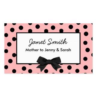 Cartão cor-de-rosa e preto elegante das mamães das cartão de visita