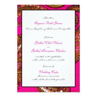Cartão cor-de-rosa elétrico do menu da recepção de convite