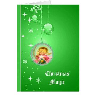 Cartão cor-de-rosa mágico do anjo do natal vintage