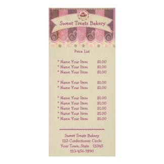 Cartão cor-de-rosa, malva da cremalheira do cupcak 10.16 x 22.86cm panfleto