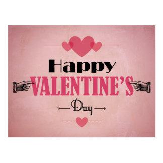 Cartão cor-de-rosa retro do dia dos namorados - co cartão postal