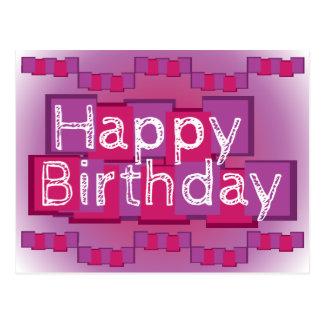 Cartão cor-de-rosa & roxo do feliz aniversario da cartão postal