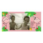 Cartão cor-de-rosa tropical da foto do Natal Cartao Com Foto Personalizado