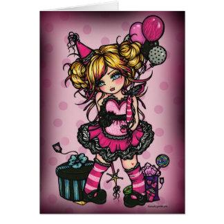Cartão COR DENTRO da arte cor-de-rosa da fada da menina