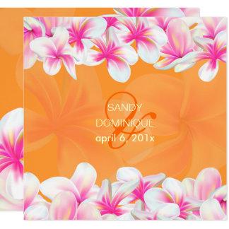 Cartão Cor do fundo do rosa quente plumeria/DIY de