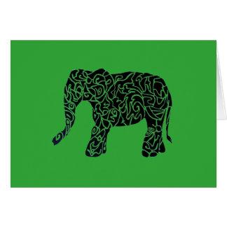 Cartão Cor feita sob encomenda/cartão tribal elefante do