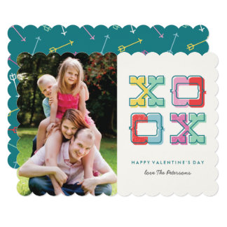 Cartão Cor-Obstruído do dia dos namorados de XOXO