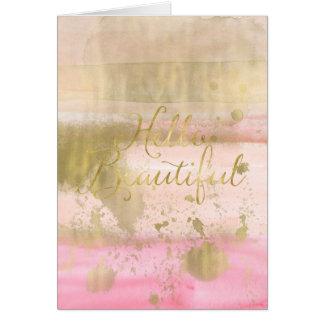 Cartão Cora a aguarela Glam do ouro cor-de-rosa olá!