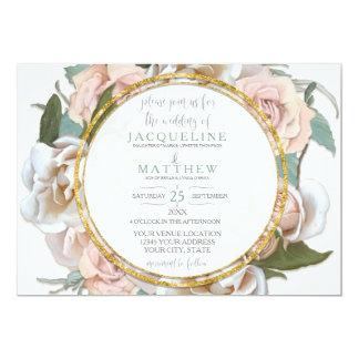 Cartão Cora a escrita moderna do roteiro do ouro floral