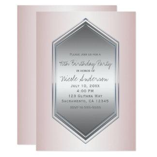 Cartão Cora a festa de aniversário de prata cor-de-rosa