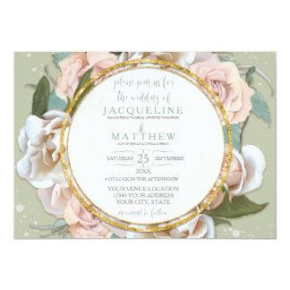 Cartão Cora a grinalda moderna da folha do ouro floral