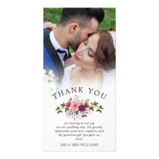 Cartão Cora & o obrigado do casamento de Borgonha você