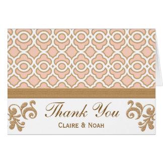 Cartão Cora o obrigado marroquino do ouro cor-de-rosa