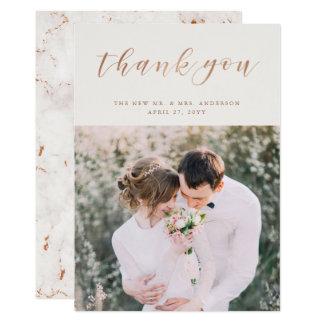 Cartão Cora o obrigado Wedding cor-de-rosa da foto do