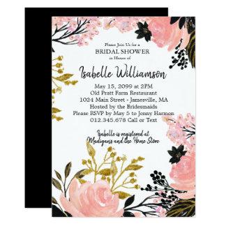 Cartão Cora o rosa, preto, chás de panela do ouro