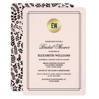 Cartão Cora o rosa | que o chá de panela floral preto