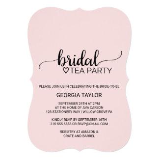 Cartão Cora o tea party nupcial da caligrafia simples