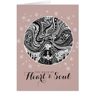 Cartão Coração & alma cor-de-rosa dos namorados do circo