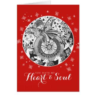 Cartão Coração & alma Rockabilly vermelhos dos namorados