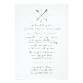 Cartão Coração azul das setas - o casamento 3x5 & a