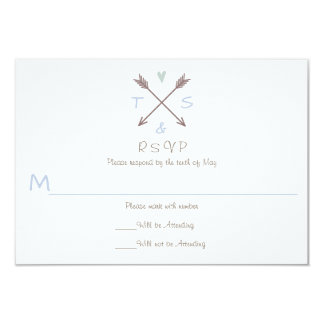 Cartão Coração azul das setas - RSVP