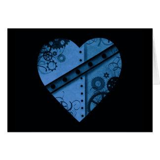 Cartão Coração azul escuro romântico do steampunk