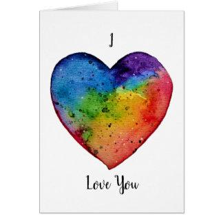 Cartão Coração bonito do arco-íris da aguarela