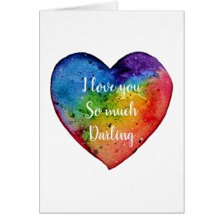 Cartão Coração bonito do arco-íris da aguarela, namorados