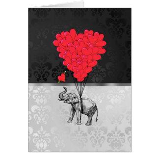 Cartão Coração bonito do elefante e do amor em cinzas