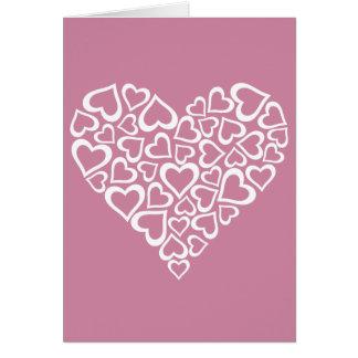 Cartão Coração branco dos corações