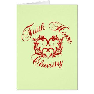 Cartão Coração - caridade da esperança da fé