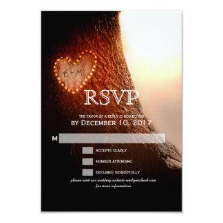 Cartão Coração cinzelado árvore RSVP rústico