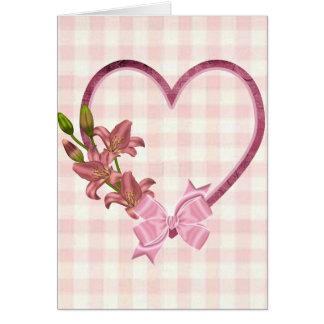 Cartão Coração com arranjo floral
