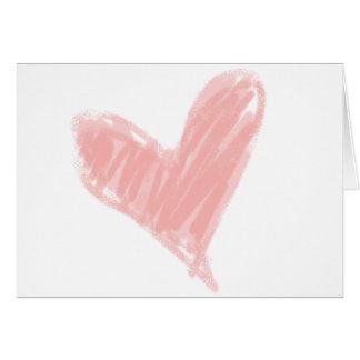 Cartão Coração cor-de-rosa