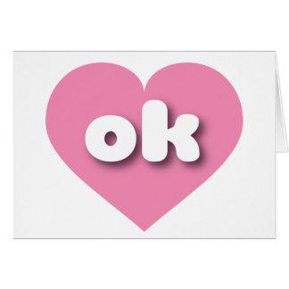 Cartão Coração cor-de-rosa de Oklahoma - mini amor