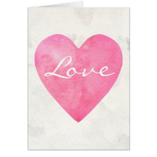 Cartão Coração cor-de-rosa do amor da aguarela