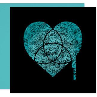 Cartão coração da carta de turquesa
