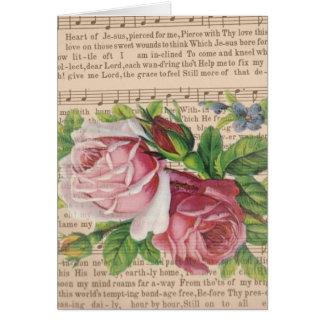 Cartão Coração da música de Jesus com rosas & as