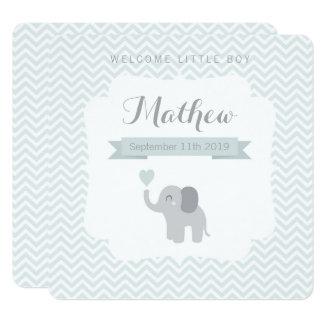 Cartão Coração de Chevron do elefante do menino do