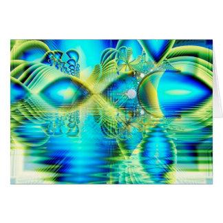 Cartão Coração de cristal de turquesa do limão do amor,