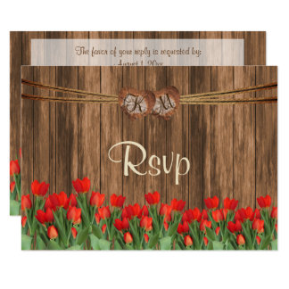 Cartão Coração de madeira do monograma de RSVP com as