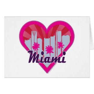 Cartão Coração de Suburst da skyline de Miami