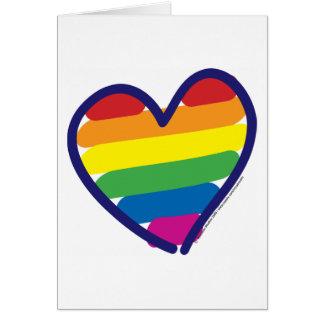 Cartão Coração do arco-íris do orgulho gay dos namorados